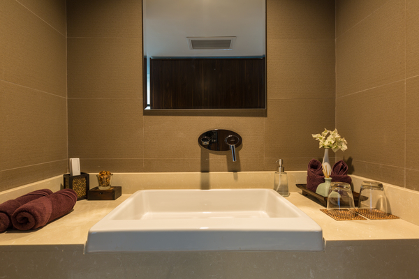 Bathroom at Sukham Villa, a 6 bedroom private, luxury villa with ocean view located in the hills of North Chaweng, Koh Samui, Thailand
