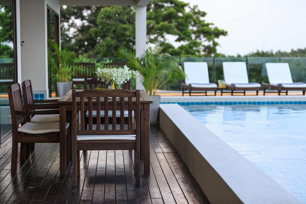 Pool side terrace at Koh Samui Villa