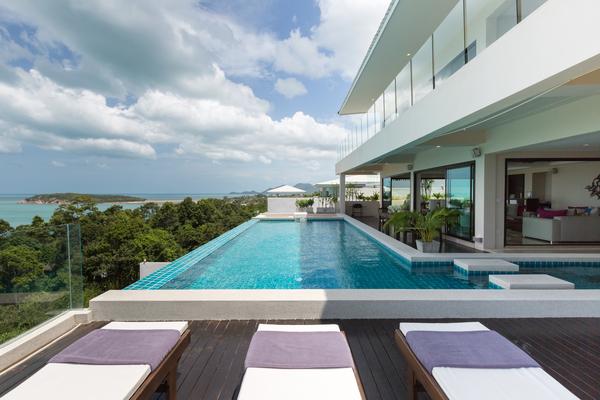 Swimming pool and views at Sukham Villa, Ko Samui