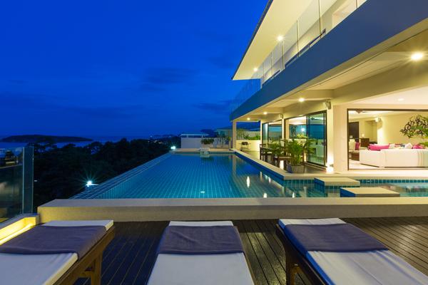 Swimming pool and evening views at Sukham Villa