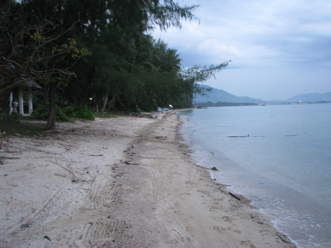 Koh Samui, beach land for sale, beach view looking south,