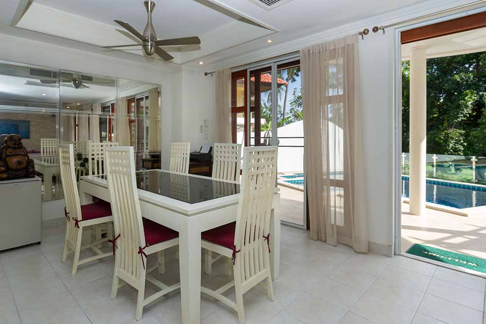 Koh Samui, Choengmon, 3 bedroom, detached pool villa, dining area