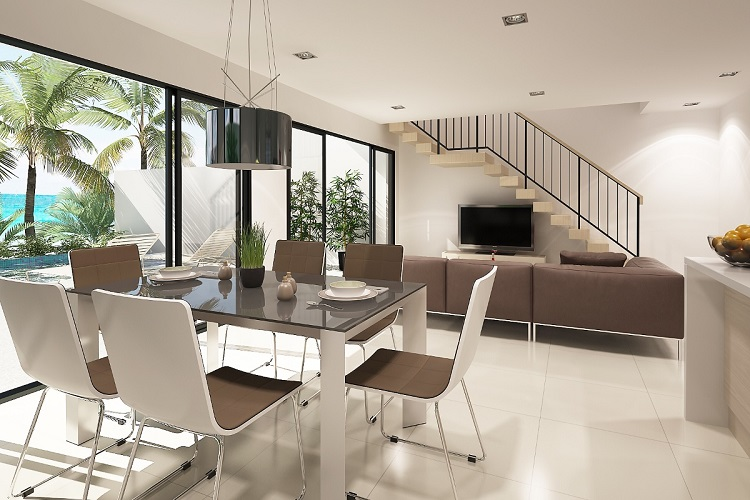 Koh Samui, Plai Laem, New Townhouse for sale, Samui Emerald Villa, living room, dining room,