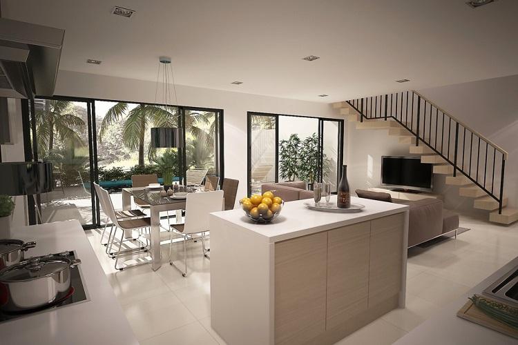 Koh Samui, Plai Laem, New Townhouse for sale, Samui Emerald Villa, living room and Kitchen,