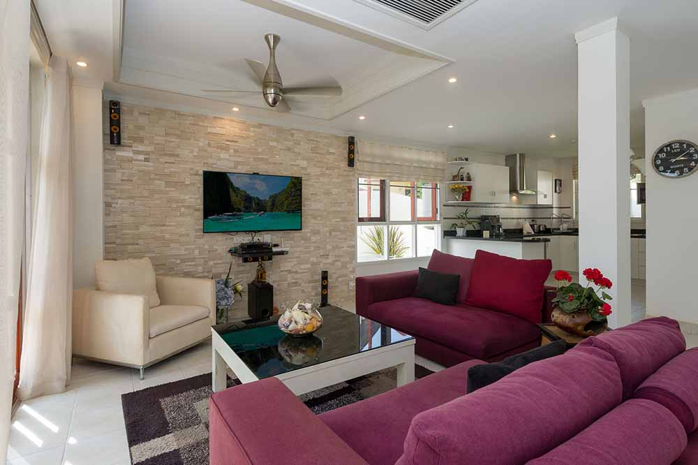 Koh Samui, Choengmon, 3 bedroom, detached pool villa, living room
