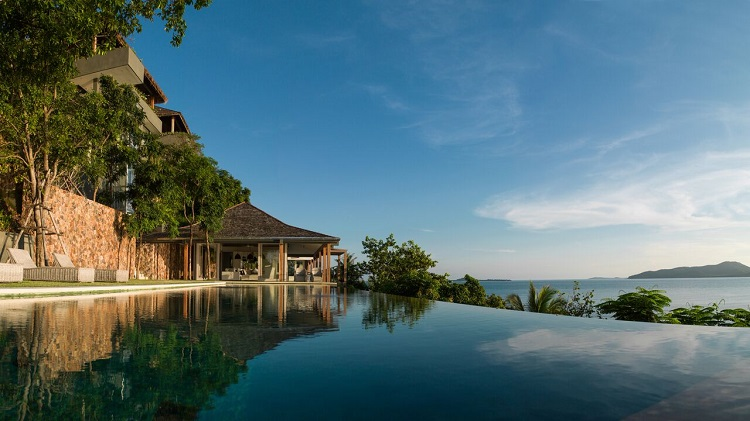 Koh Samui Luxury Villa for Sale, Ocean front villa for sale, view from pool,