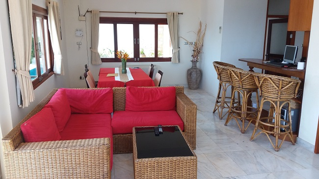 Ko Samui villa for sale, Sea view villa for sale, Villa with apartment for sale, living room,