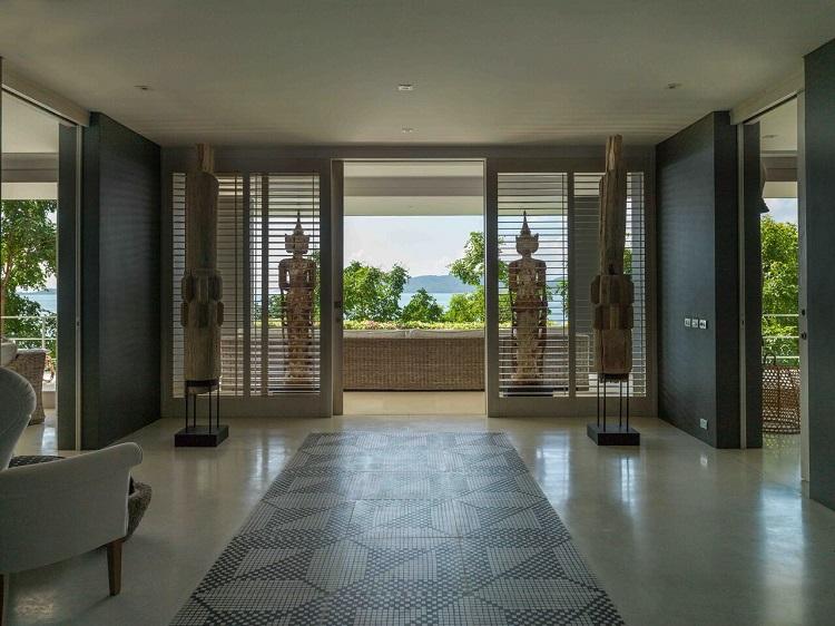 Koh Samui Luxury Villa for Sale, Ocean front villa for sale, hallway,