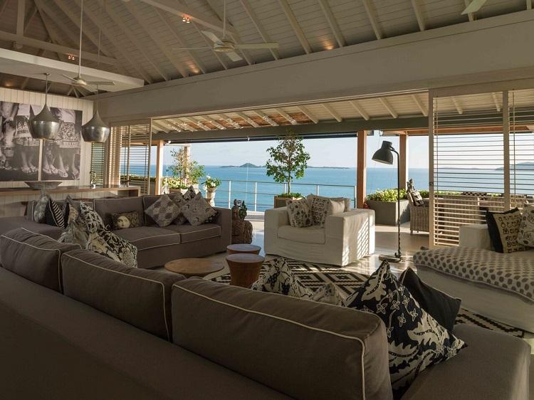 Koh Samui Luxury Villa for Sale, Ocean front villa for sale, living room,