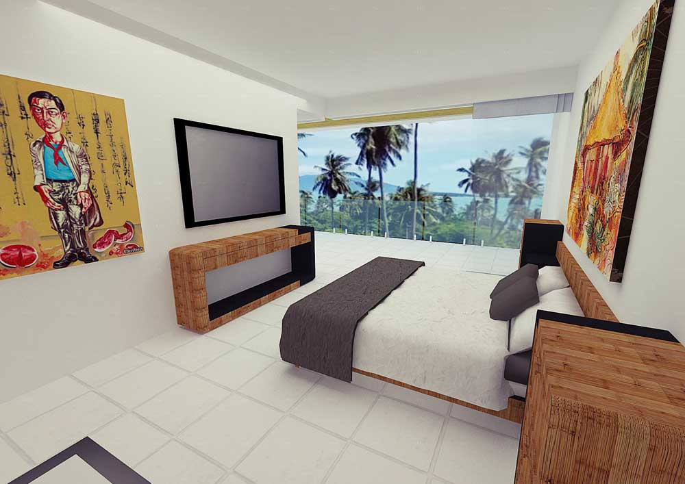 Koh Samui Villa for sale, New Villa for Sale, Sea view villa for Sale, bedroom,