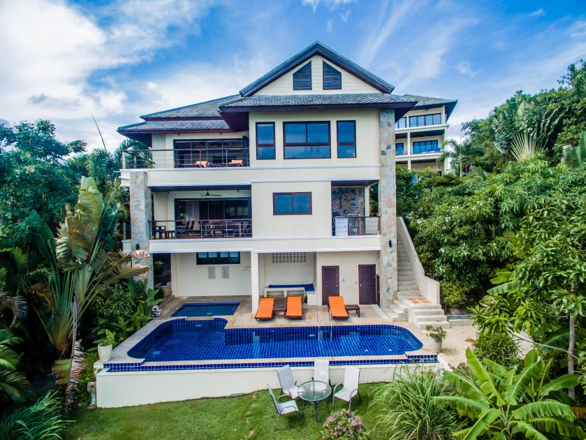 Koh Samui luxury villa for sale, ocean front villa for sale, view from the sea,