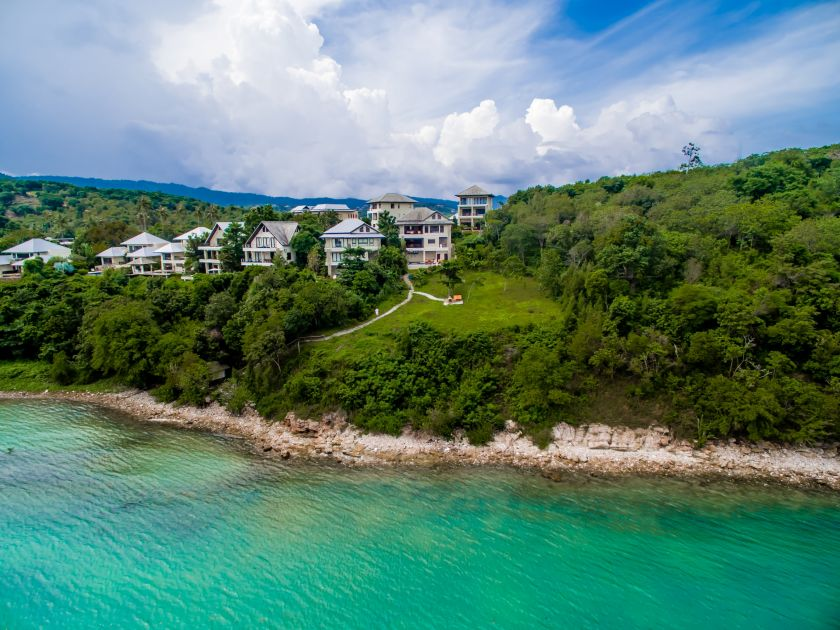 Koh Samui luxury villa for sale, ocean front villa for sale, aerial view,