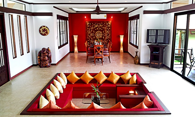 Koh Samui bungalow for sale, 4 bedroom bungalow for sale, Villa Lychee for sale, living room,