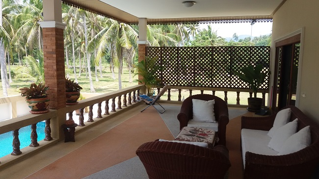 Koh Samui Villa for Sale, Villa near beach for sale, covered rear balcony,