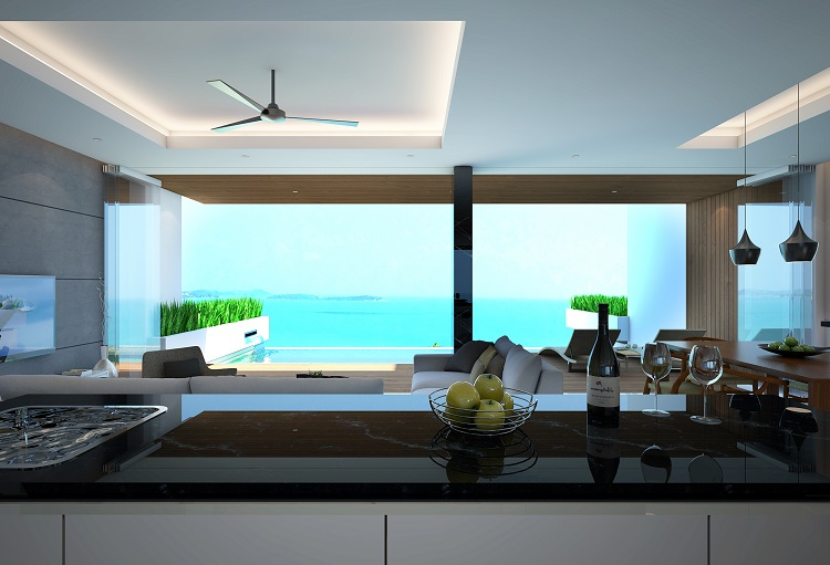 Koh Samui new Villa for Sale, Sukkho Villa for Sale, Sea View Villas For sale, view from kitchen,