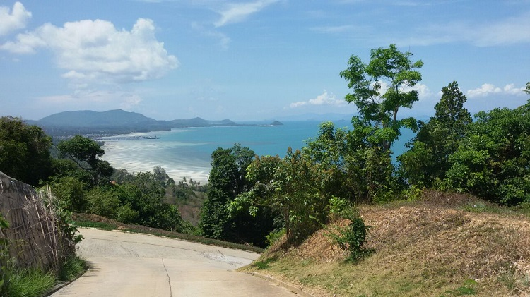 Koh Samui Hillside land for sale, 36 Rai sea view land for sale, concrete road,