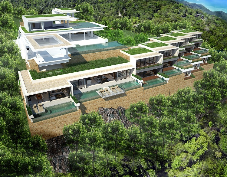 Koh Samui new Villa for Sale, Sukkho Villa for Sale, Sea View Villas For sale, aerial view,