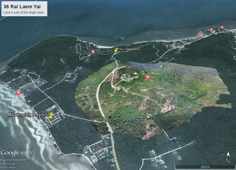 Koh Samui Hillside land for sale, 36 Rai sea view land for sale, aerial view,