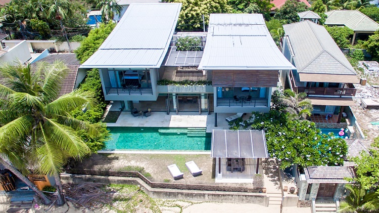 Koh Samui Luxury Villa for sale; Koh Samui Beach front Villa for Sale, Aerial View,
