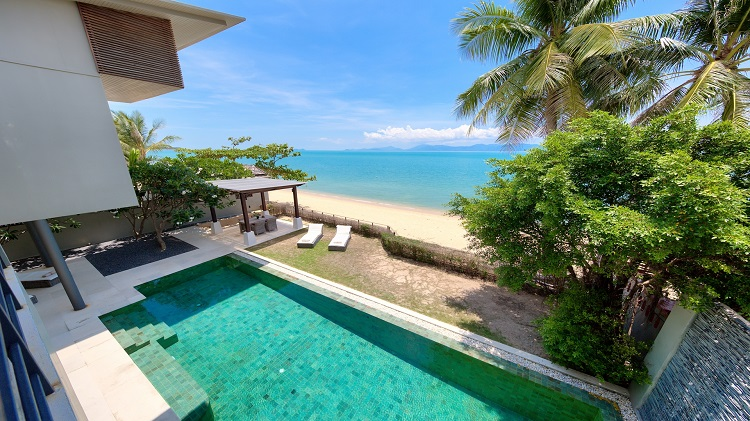Koh Samui Luxury Villa for sale; Koh Samui Beach front Villa for Sale, Pool from Bedroom 2 balcony,