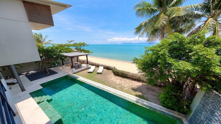 Koh Samui Luxury Villa for sale; Koh Samui Beach front Villa for Sale, Pool from Bedroom 2 balcony,