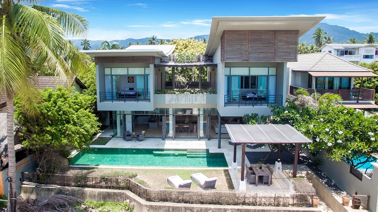 Koh Samui Luxury Villa for sale; Koh Samui Beach front Villa for Sale, Aerial view,