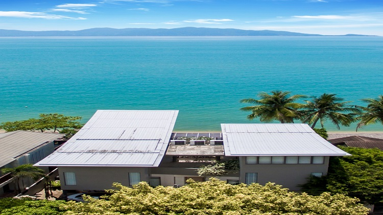 Koh Samui Luxury Villa for sale; Koh Samui Beach front Villa for Sale, Aerial view looking towards Koh Phangan,