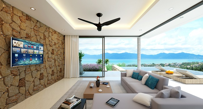 Koh Samui New villa for sale, New sea view villa for sale in Koh Samui, living room,