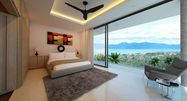 Koh Samui New villa for sale, New sea view villa for sale in Koh Samui, Master bedroom,