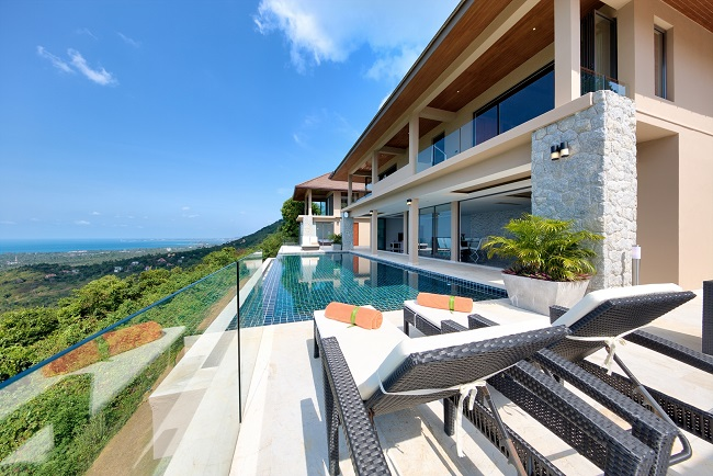 Koh Samui Luxury Villa for sale, Angthong Hills villa for sale, Rear view