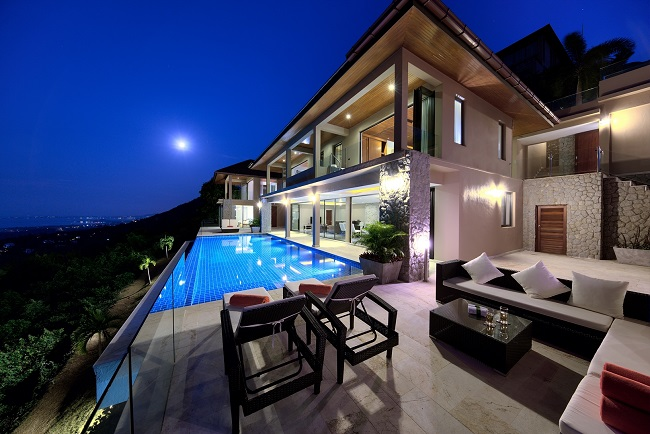 Koh Samui Luxury Villa for sale, Angthong Hills villa for sale, Night time