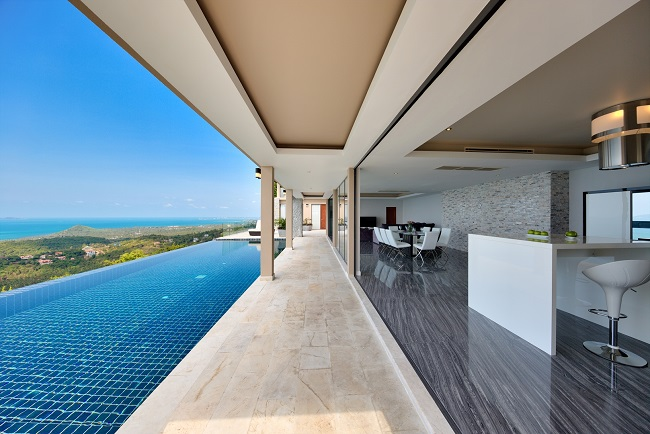 Koh Samui Luxury Villa for sale, Angthong Hills villa for sale, Pool deck