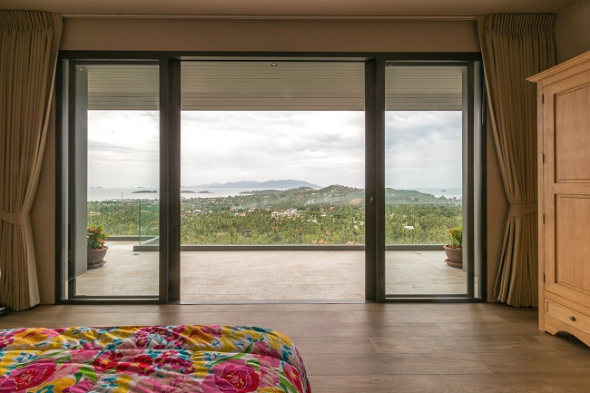 Koh Samui luxury villa for sale, Hillside sea view villa for sale, bedroom,