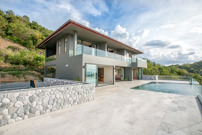 Koh Samui luxury villa for sale, Hillside sea view villa for sale, front view,