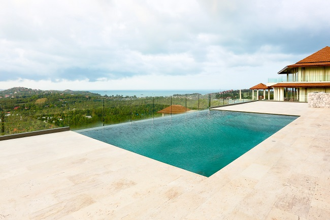 Koh Samui luxury villa for sale, Hillside sea view villa for sale, pool deck,