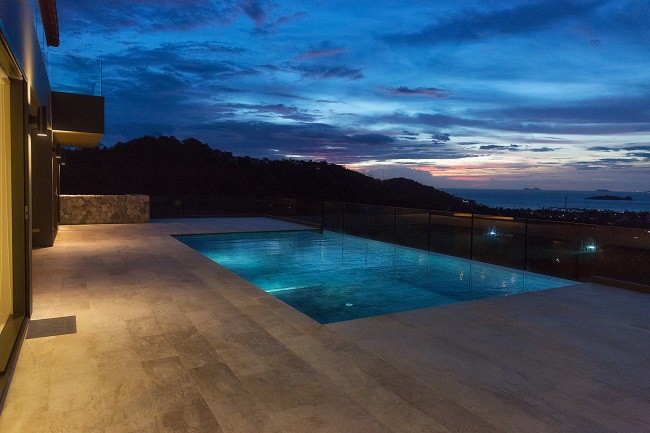 Koh Samui luxury villa for sale, Hillside sea view villa for sale, view at dusk,