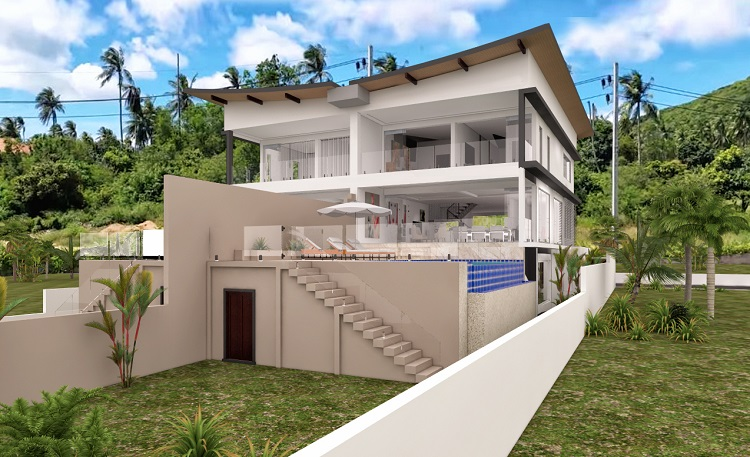 Koh Samui Villa for sale, New Villa for Sale, Sea view villa for Sale, rear view,
