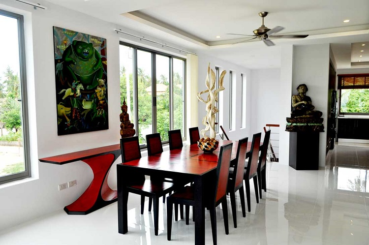 Koh Samui Villa for sale, New Villa for Sale, Sea view villa for Sale, living room,