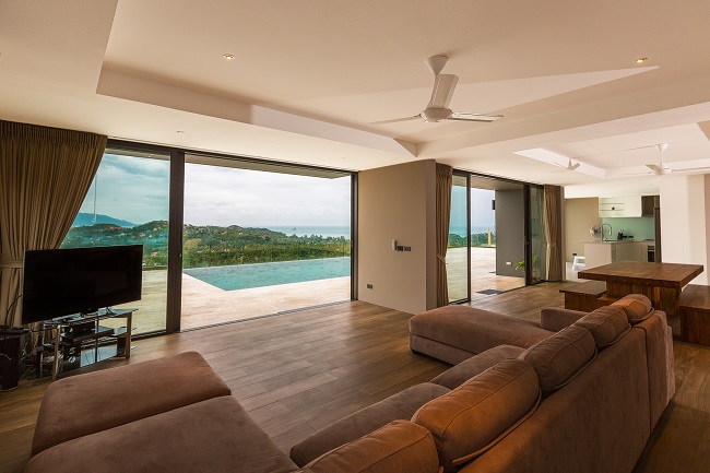 Koh Samui luxury villa for sale, Hillside sea view villa for sale, living room,