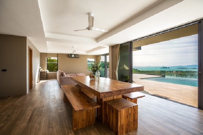 Koh Samui luxury villa for sale, Hillside sea view villa for sale, dining area,
