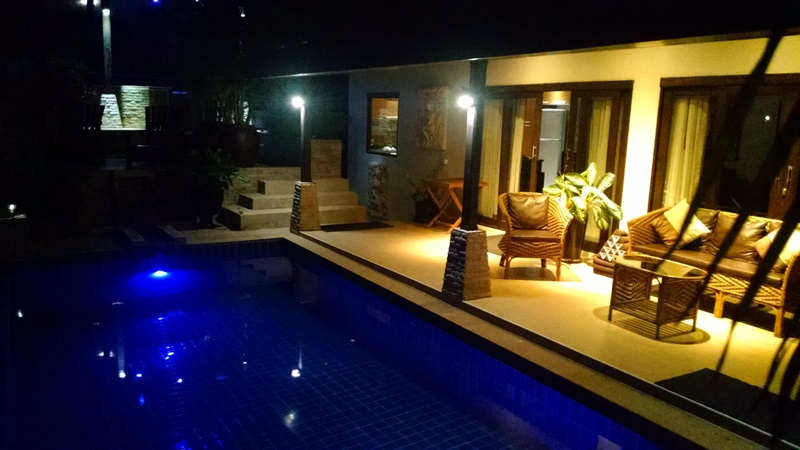 Koh Samui Villa For sale, sea view villa for sale, four bedroom villa for sale, Night view front terrace,
