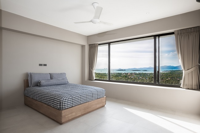 Koh Samui luxury villa for sale, Hillside sea view villa for sale, apartment bedroom,