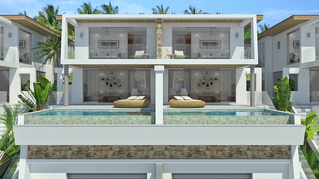 Koh Samui sea view villas for sale, new sea view villas for sale, Samui Sunset Lagoon villas for sale, front view,