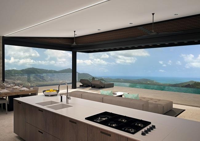 Five new Luxury Villas in Koh Samui for sale, hilltop luxury villas in Samui for Sale, kitchen,