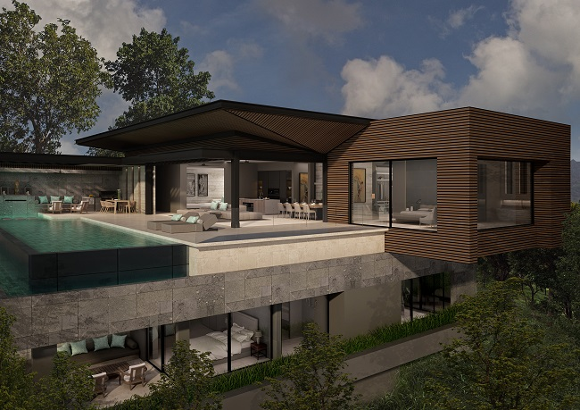Five new Luxury Villas in Koh Samui for sale, hilltop luxury villas in Samui for Sale, side view,