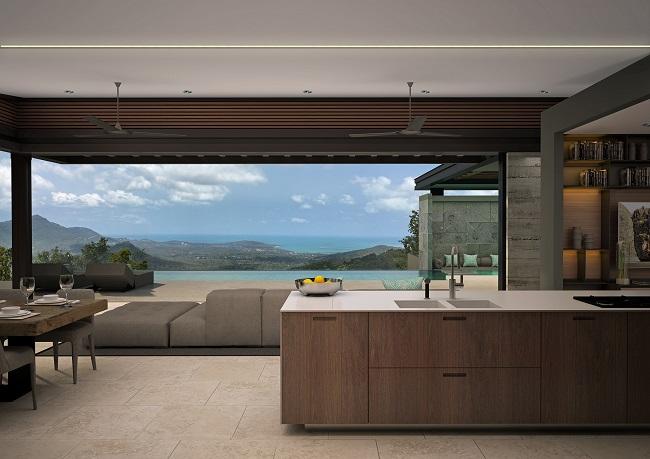 Five new Luxury Villas in Koh Samui for sale, hilltop luxury villas in Samui for Sale, lounge,
