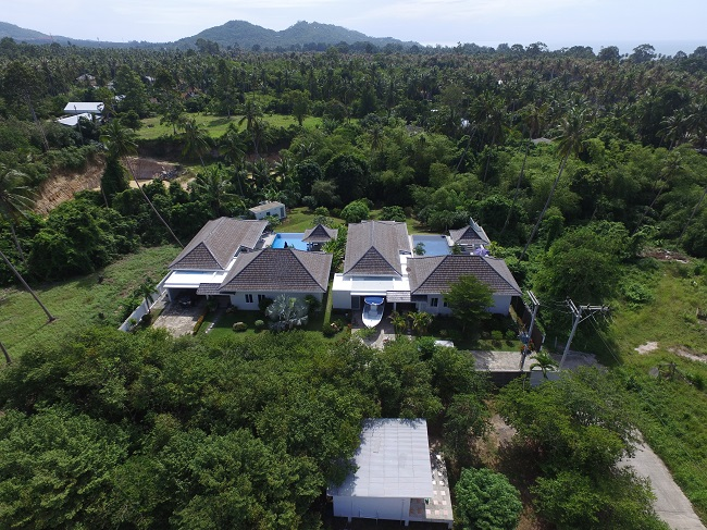 Ko Samui Properties villas for sale, modern pool villas, two villas for sale at discounted price, aerial view,