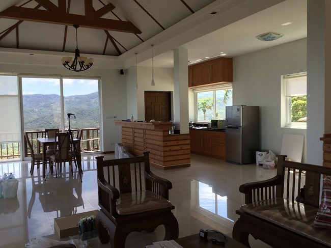 Ko Samui Properties, Sea View villa for Sale, Five Islands view villa for Sale, living room,