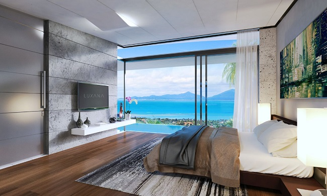 Ko Samui Properties new sea view villas for sale, 3 bedroom villas for sale, bedroom view,