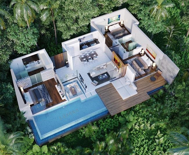 Ko Samui Properties new sea view villas for sale, 3 bedroom villas for sale, 3D View,